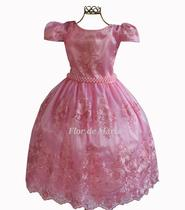 Vestido Festa Infantil Juvenil Rosa Bebê Daminha Princesa Florista Aia Aniversário Realeza Renda - Enjoy Kids