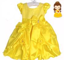 Vestido Festa Infantil Princesa Bela Luxo Cetim 1 /2  anos - Ranna Bebe