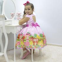 Vestido festa infantil tema fazendinha xadrez rosa - Moderna Meninas