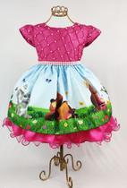 Vestido festa masha e o urso aniversario infantil 1 ao 3 - Xuxuzinhos Baby