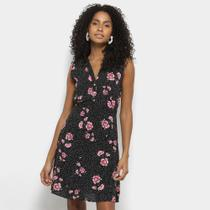 Vestido For Why Evasê Curto Floral Botões Regata - Forwhy