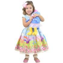 Vestido Galinha Pintadinha Azul Com Pelúcia - Moderna Meninas