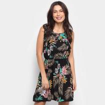 Vestido HCM Evasê Curto Floral Coqueiros - Hcm