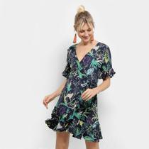 Vestido Heli Evasê Curto Floral Transpassado -