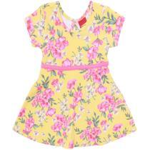 Vestido Infantil - Algodão e Poliéster - Flores - Amarelo - Kyly -