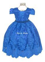Vestido Infantil Azul Royal Festa Princesa Cinderela Aniversário Daminha Florista Aia Dama Honra - Enjoy Kids