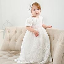 Vestido infantil bebê batizado com faixa rosa Mandrião Renda Branco Touca Luxo - AuheKIDS