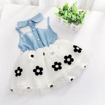 Vestido Infantil bebe menina Jeans Brim Tule Cor Branco 2 a 3 anos - Little baby