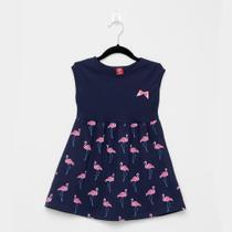 Vestido Infantil Bee Loop Cavado Evasê Flamingos Lacinho -