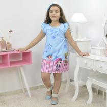 Vestido infantil bonecas Lol surprise azul trapézio - Moderna Meninas