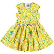 Vestido Infantil com Cinto Malwee - Em Cotton - Amarelo -
