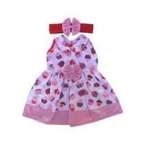 Vestido infantil com Estampa de Cupcake com Tiara - Sassy