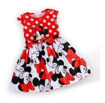 Vestido Infantil Criança Menina Disney Minnie Vermelho - Anjo Da Mamãe