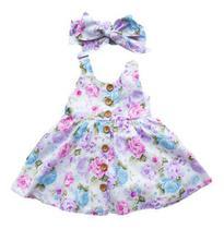 Vestido Infantil Criança Menina Floral + Laço Cabeça - Anjo Da Mamãe