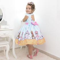 Vestido infantil das bonecas Lol surprise glitter confetti azul - Moderna Meninas