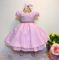 Vestido Infantil de Festa cor Rosa tamanho 1 - Jeito De Menina