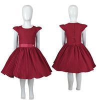 Vestido Infantil de Festa Saia Plissada Moda Evangélica Tam 6 ao 12 - Katitus