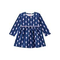 Vestido Infantil de Malha Coelhinhos Azul - Brandili -