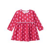 Vestido Infantil de Malha Coelhinhos Vermelho - Brandili -