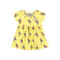 Vestido Infantil de Malha Flamingo Amarelo - Brandili -