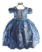 Vestido Infantil Festa Azul Princesa Elsa Cinderela Daminha Florista Aia Dama Honra Realeza Renda - Enjoy kids