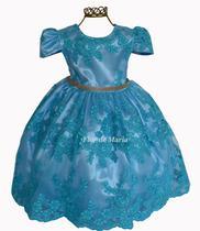 Vestido Infantil Festa Azul Tiffany Princesa Aniversário Daminha Florista Miss Aia Realeza Renda - Enjoy kids