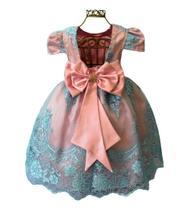 Vestido Infantil Festa Rosa Bebê Com Azul Aniversário Princesa Cinderela Galinha Pintadinha Realeza - Enjoy Kids