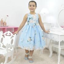 Vestido infantil floral azul com rosas brancas - Moderna Meninas