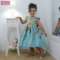 Vestido infantil floral com rosas e borboletas - Moderna meninas
