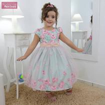 Vestido infantil floral jardim encantado com tule sobre a saia - Moderna Meninas