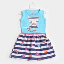 Vestido Infantil For Girl Evasê Listrado Floral -