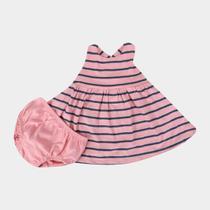 Vestido Infantil GAP Malha Listrado + Calcinha -