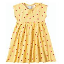 Vestido Infantil Godê em Malha  Amarelo Maça- Malwee - Malween Kids