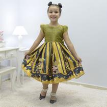 Vestido infantil Lol Queen Bee abelhinha glitter na parte superior - Moderna meninas
