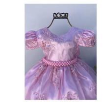 Vestido Infantil Luxo para Festa longo Rosa com Coroa e Luva 2135 - Enjoy Kids