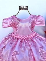 Vestido Infantil Luxo para Festa longo Rosa com Coroa Saiote e Luva 2135 - Enjoy Kids