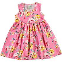 Vestido Infantil Malwee - Em Cotton 100% Algodão - Amarelo e Rosa -