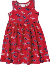 Vestido Infantil Malwee Kids Estampa Óculos - Vermelho -