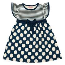 Vestido Infantil - Manga Curta com Poás - Algodão e Elastano - Marinho - Duduka -