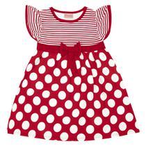 Vestido Infantil - Manga Curta com Poás - Algodão e Elastano - Vermelho - Duduka -