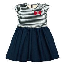 Vestido Infantil - Manga Curta - Listra com Lacinho - Algodão e Elastano - Marinho - Duduka -