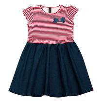 Vestido Infantil - Manga Curta - Listra com Lacinho - Algodão e Elastano - Vermelho - Duduka -