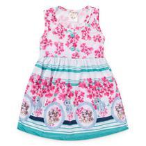 Vestido Infantil Menina Branco Flores e Gatinho - Fantoni