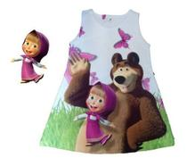 Vestido Infantil Menina Festa Aniversário Masha E O Urso - Anjo Da Mamãe