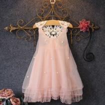 Vestido Infantil Menina Festa De Brim Tule Florido Casamento - Anjo Da Mamãe