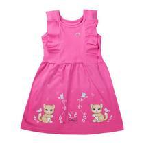 Vestido Infantil Menina Festa Gatinhos Liso Rosa - Tileesul -