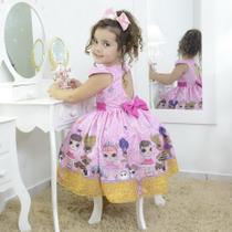 Vestido infantil mínis bonecas Lol surprise glitter confetti - Moderna Meninas