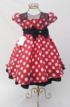 Vestido infantil minnie vermelha festa aniversario 1 ao 3 - Nelu