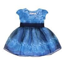 Vestido Infantil Organza Estampada Azul - 1+1