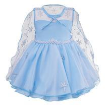 Vestido Infantil Princesa Frozen Azul com Capa Festa 1 ao 4 - LIG LIG